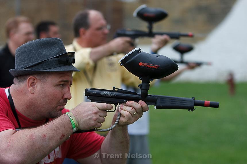 Trent Nelson  |  The Salt Lake Tribune.Mock Prison Riot, Wednesday, May 9, 2012 in Moundsville, West Virginia. Adam Strader shooting pepper balls
