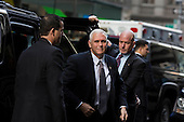 United States Vice President-elect Mike Pence, arrives at Trump Tower in Manhattan, New York, U.S., on Tuesday, December 13, 2016.<br /> Credit: John Taggart / Pool via CNP