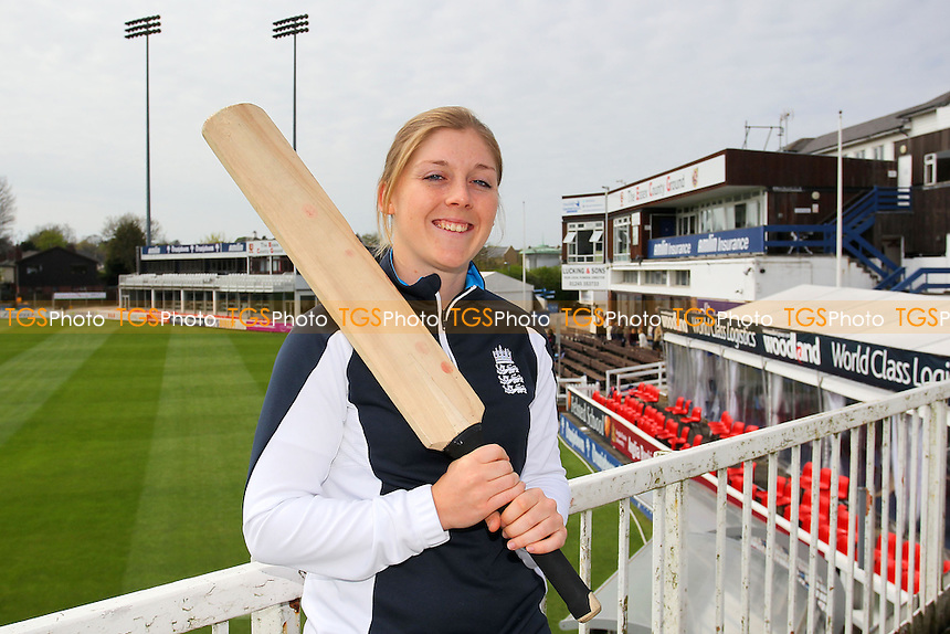 Heather Knight of England poses for a photograph to promote the forthcoming England Women vs South Africa T20 match in Chelmsford - Essex CCC Women & Girls Press Day at the Essex County Ground, Chelmsford - 11/04/14 - MANDATORY CREDIT: Gavin Ellis/TGSPHOTO - Self billing applies where appropriate - 0845 094 6026 - contact@tgsphoto.co.uk - NO UNPAID USE