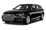 2017 Audi A4 Sport 5 Door Wagon Angular Front stock photos of front three quarter view