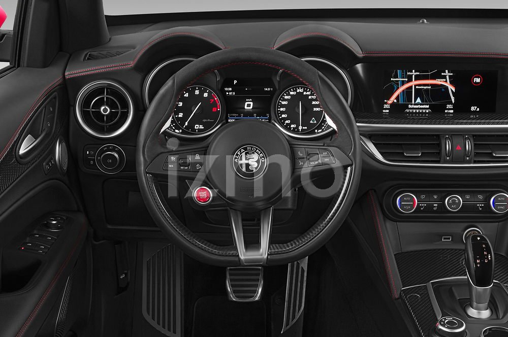 Car pictures of steering wheel view of a 2019 Alfaromeo Stelvio-Quadrifoglio - 5 Door SUV Steering Wheel