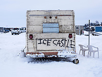 An ice house trailer during the 39th Annual International Eel Pout Festival, at Leech Lake in Walker, Minnesota, February 24, 2018. Crowds that are more than 10 times the population of tiny Walker, Minn. (pop. 1,069) gather on Minnesota&rsquo;s third largest lake (112,000-acres), Leech Lake, for a festival named for one of the ugliest bottom-dwelling fish, the eelpout.<br /> <br /> Photo by Matt Nager
