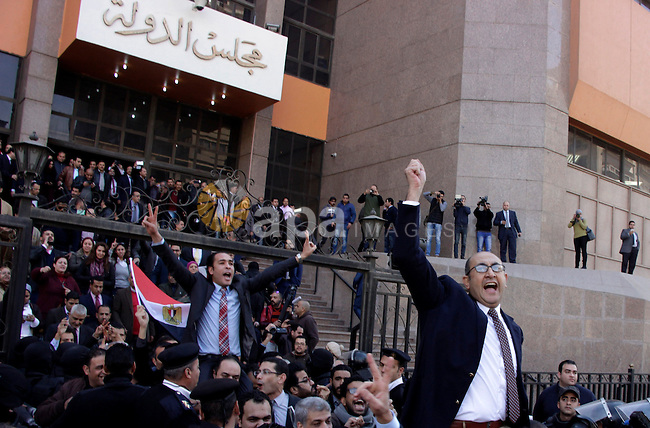 Egyptian lawyer and former presidential candidate Khaled Ali celebrates after the Supreme Administrative Court upheld on January 16, 2017 a ruling voiding a government agreement to hand over two Red Sea islands Tiran and Sanafir to Saudi Arabia in a deal that had sparked protests in Egypt. Photo by Stranger