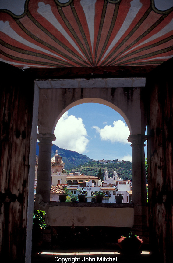 View of Taxco from the Casa Humboldt in Taxco, Guerrero, Mexico. This restored 18th century Moorish style building is named after German explorer and naturalist Alexander Von Humboldt. It now houses the Museum of Viceregal Art or Museo de Arte Virreinal.