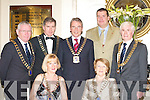 BALL: The SKAL area presidents enjoying their ball in the Malton Hotel, Killarney on Saturday were front l-r: Lorraine O'Neill (Cork) and Breda Reid (Lakelands Athlone). Back l-r: Michael Curley (Sligo), Jim Gallivan (Shannon), Conor O'Connell (Kerry), Ewan Plenderleith (International Councillor) and Tom Reid (President).   Copyright Kerry's Eye 2008