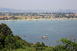 View of the town and harbour over Back Bay, Trincomalee, Sri Lanka, Asia