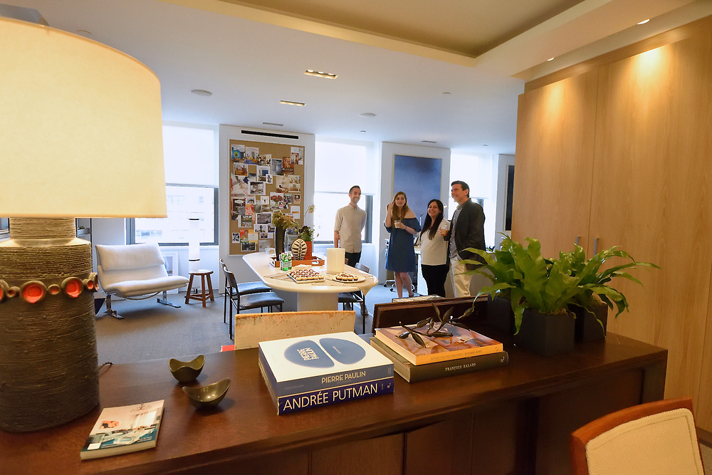 A cocktail reception in the Timothy Brown showroom at the New York Design Center.