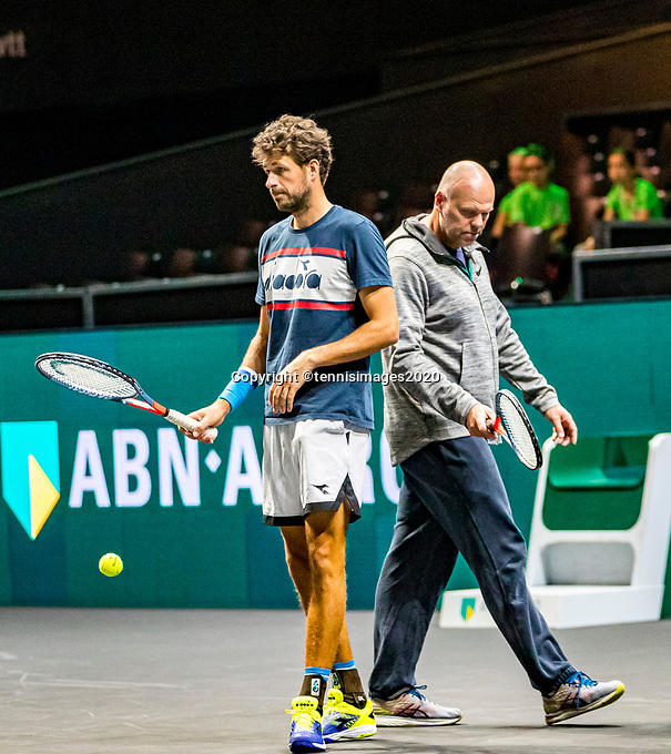 Rotterdam, The Netherlands, 9 Februari 2020, ABNAMRO World Tennis Tournament, Ahoy, Qualyfying round: Robin Haase (NED) with his coach Raymond Knaap (NED)<br /> Photo: www.tennisimages.com