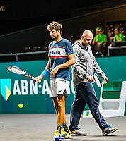 Rotterdam, The Netherlands, 9 Februari 2020, ABNAMRO World Tennis Tournament, Ahoy, Qualyfying round: Robin Haase (NED) with his coach Raymond Knaap (NED)<br /> Photo: www.tennisimages.com