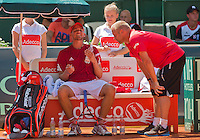 Austria, Kitzbühel, Juli 17, 2015, Tennis, Davis Cup, First round match between Dominic Thiem (AUT) vs Thiemo de Bakker (NED)  pictured: Dominic Thiem on the Austrian bench with captan Stefan Koubek<br /> Photo: Tennisimages/Henk Koster