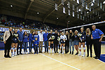 DURHAM, NC - NOVEMBER 24: Duke's four seniors, Emma Paradiso (TUR) (8), Anna Kropf (10), Nicole Elattrache (5), and Cadie Bates (16) were honored before the match with their families on Senior Day. The Duke University Blue Devils hosted the University of North Carolina Tar Heels on November 24, 2017 at Cameron Indoor Stadium in Durham, NC in a Division I women's college volleyball match. Duke won 3-0 (25-21, 25-22, 25-20).