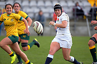 Rachael Burford chips for the corner during the 2017 International Women's Rugby Series rugby match between England Roses and Australia Wallaroos at Porirua Park in Wellington, New Zealand on Friday, 9 June 2017. Photo: Dave Lintott / lintottphoto.co.nz