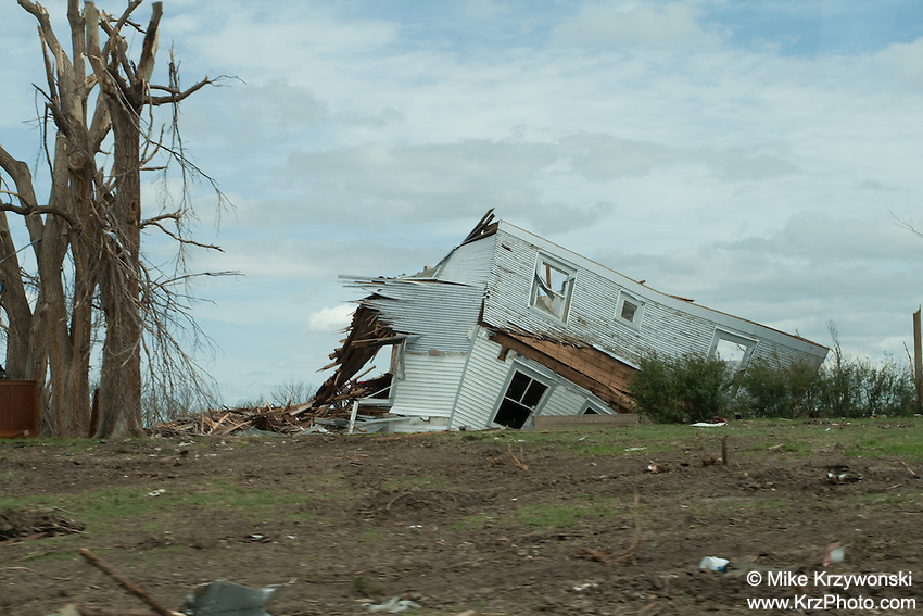 Destroyed house among F5 tornado damage in Greensburg, KS, May, 2007