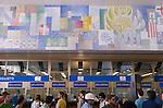 Venice Italy 2009. Train station interior the Mosaic. Venezia  Santa Lucia Station.