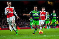 Wayne Routledge of Swansea City  makes a run upfield during the Barclays Premier League match between Arsenal and Swansea City at the Emirates Stadium, London, UK, Wednesday 02 March 2016