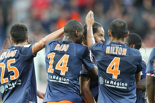 24.09.2015. Montpelier, France. French League 1 football. Montpellier versus AS Monaco.   daniel congre celebrates his goal for Montpellier