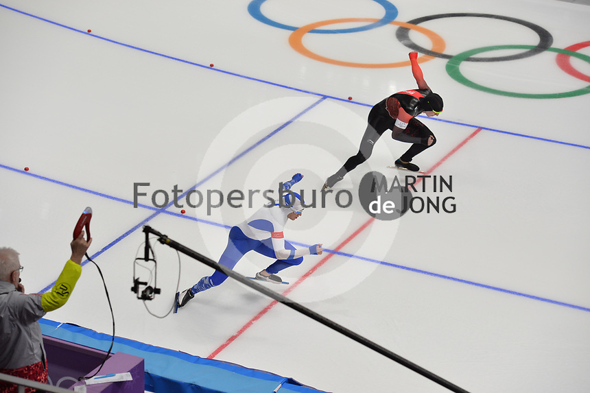 OLYMPIC GAMES: PYEONGCHANG: 19-02-2018, Gangneung Oval, Long Track, 500m Men, Mika Poutala (FIN), Alex Boisvert-Lacroix (CAN), ©photo Martin de Jong