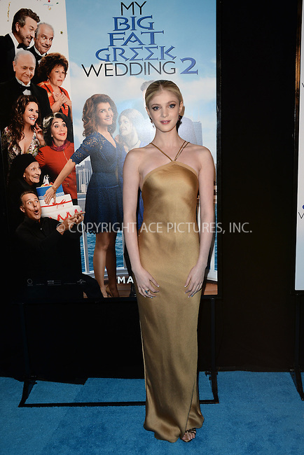 WWW.ACEPIXS.COM<br /> March 15, 2016 New York City<br /> <br /> Elena Kampouris attending the 'My Big Fat Greek Wedding 2' New York premiere at AMC Loews Lincoln Square 13 theater on March 15, 2016 in New York City.<br /> <br /> <br /> <br /> Credit: Kristin Callahan/ACE Pictures<br /> Tel: (646) 769 0430<br /> e-mail: info@acepixs.com<br /> web: http://www.acepixs.com