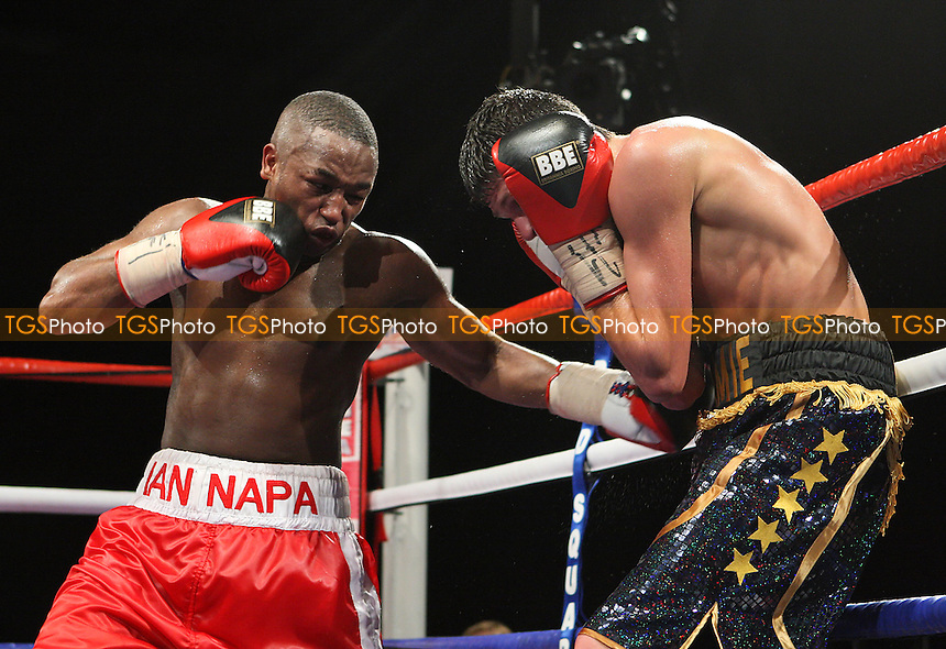 Jamie McDonnell (black/gold shorts) defeats Ian Napa in a Bantamweight contest for the British and Commonwealth Titles at the Brentwood Centre, promoted by Frank Maloney - 22/01/10 - MANDATORY CREDIT: Gavin Ellis/TGSPHOTO - Self billing applies where appropriate - Tel: 0845 094 6026