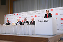 (L to R) <br /> Tsuyoshi Aoki, <br /> Yoshiro Mori, <br />   Koichi Miyata, <br /> Mitsunori Torihara, <br />   Yasuhiro Sato, <br /> APRIL 14, 2015 : <br /> Mizuho and Sumitomo Mitsui Financial Group has Press conference <br /> in Tokyo. <br /> Mizuho and Sumitomo Mitsui Financial Group announced that <br /> it has entered into a partnership agreement with <br /> the Tokyo Organising Committee of the Olympic and Paralympic Games. <br /> With this agreement, Mizuho and Sumitomo Mitsui Financial Group becomes the gold partner. <br /> (Photo by YUTAKA/AFLO SPORT) [1040]