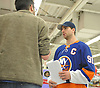"John Tavares, New York Islanders captain, speaks with Newsday sportswriter Sal Cacciatore at Toys ""R"" US in Carle Place during the team's holiday shopping for children in hospitals on Thursday, Nov. 30, 2017. Gifts will be hand-delivered to children in eight local hospitals by the players on Monday, Dec. 18."