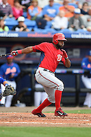 Washington Nationals outfielder Denard Span (2) during a spring training game against the New York Mets on March 27, 2014 at Tradition Field in St. Lucie, Florida.  Washington defeated New York 4-0.  (Mike Janes/Four Seam Images)