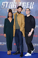 Sonequa Martin-Green, Shazad Latif &amp; producer Aaron Harbets at the special fan screening for &quot;Star Trek Discovery&quot; at Millbank Tower, London, UK. <br /> 05 November  2017<br /> Picture: Steve Vas/Featureflash/SilverHub 0208 004 5359 sales@silverhubmedia.com