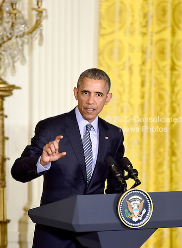 United States President Barack Obama holds a joint press conference with President Dilma Rousseff of Brazil in(not pictured) the East Room of the White House in Washington, D.C. on Tuesday, June 30, 2015.<br /> Credit: Ron Sachs / CNP