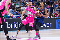 Estudiantes Aleksandar Cvetkovic and FC Barcelona Lassa Phil Pressey during Liga Endesa match between Estudiantes and FC Barcelona Lassa at Wizink Center in Madrid, Spain. October 22, 2017. (ALTERPHOTOS/Borja B.Hojas) /NortePhoto.com