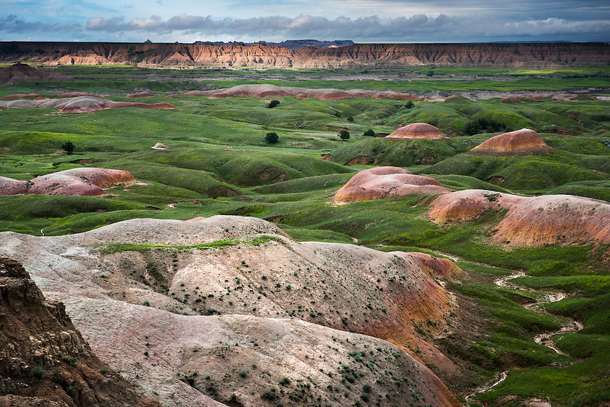 The sun sets on Badlands National Park near Sage Creek in western South Dakota.