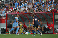 Piscataway, NJ - Saturday Aug. 27, 2016: Samantha Johnson, Sarah Killion during a regular season National Women's Soccer League (NWSL) match between Sky Blue FC and the Chicago Red Stars at Yurcak Field.