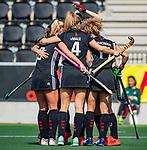 AMSTELVEEN - Marijn Veen (A'dam) scoort 1-0  tijdens de hoofdklasse competitiewedstrijd hockey dames,  Amsterdam-Oranje Rood (5-2). COPYRIGHT KOEN SUYK