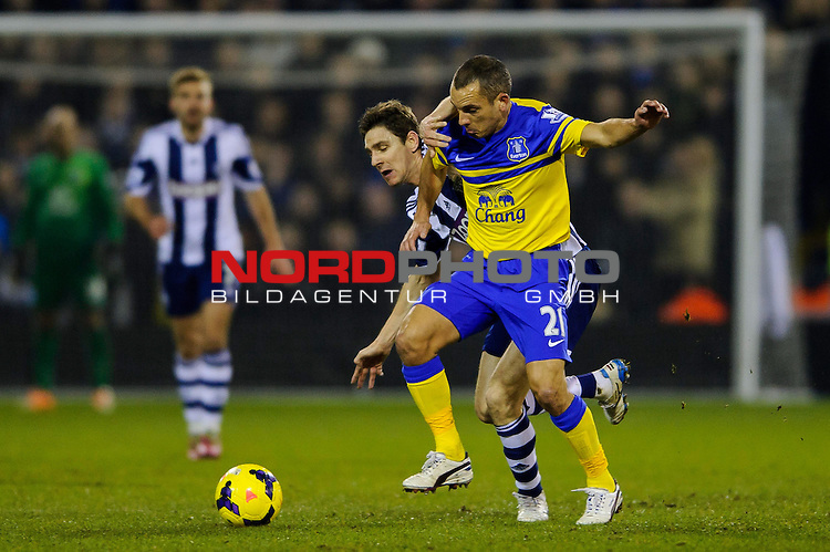 Everton Midfielder Leon Osman (ENG) is challenged by West Brom Midfielder Zoltan Gera -  - 20/01/2014 - SPORT - FOOTBALL - The Hawthorns Stadium - West Bromwich Albion v Everton - Barclays Premier League.<br /> Foto nph / Meredith<br /> <br /> ***** OUT OF UK *****