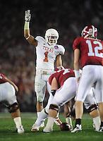 Jan 7, 2010; Pasadena, CA, USA; Texas Longhorns linebacker (1) Keenan Robinson during the 2010 BCS national championship game against the Alabama Crimson Tide at the Rose Bowl. Alabama defeated Texas 37-21. Mandatory Credit: Mark J. Rebilas-.