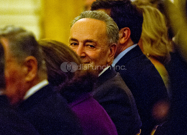 United States Senate Minority Leader Chuck Schumer (Democrat of New York) attends a reception hosted by US President Donald J. Trump for US Senators and their spouses in the East Room of the White House in Washington, DC on Tuesday, March 28, 2017.<br /> Credit: Ron Sachs / Pool via CNP /MediaPunch