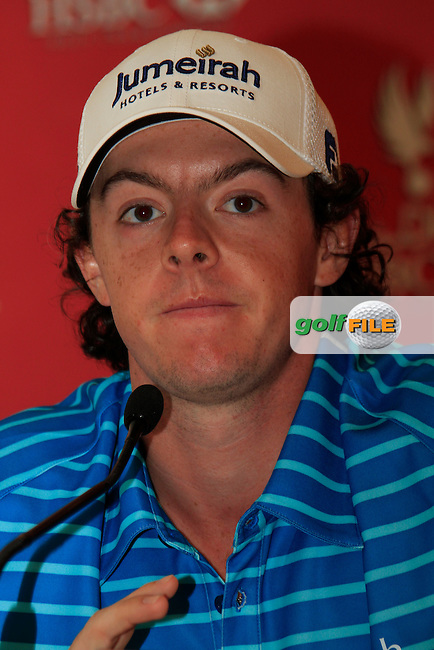 Rory McIlroy (NIR) gives a press conference during Wednesday's Pro-Am of the HSBC Golf Championship at the Abu Dhabi Golf Club, United Arab Emirates, 25th January 2012 (Photo Eoin Clarke/www.golffile.ie)