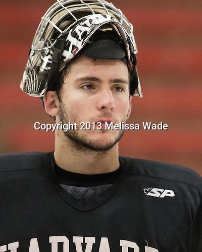 Raphael Girard (Harvard - 30) - The Harvard University Crimson practiced on Friday, October 22, 2013, at Bright-Landry Hockey Center in Cambridge, Massachusetts.