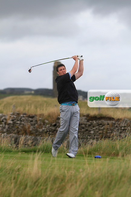 Paul O'Hara (Kilkenny) on the 17th tee during the South of Ireland Amateur Open Championship Final at Lahinch Golf Club  31th July 2013 <br /> Picture:  Thos Caffrey / www.golffile.ie
