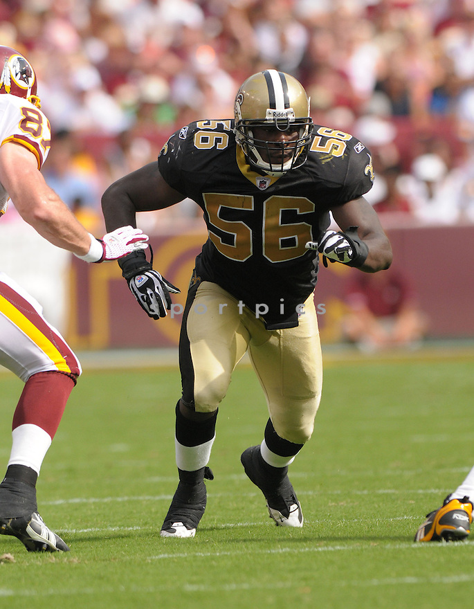 JO-LON DUNBAR, of the New Orleans Saints, in action during the Saints game against the Washington Redskins on September 14, 2008 in Washington DC...Redskins win 29-24..SportPics