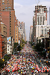 Competitors from the 'middle of the pack' run up First Avenue while racing in the ING New York City Marathon in New York, New York on November 4, 2007.  Martin Lel (KEN) won the men's race with a time of 2:09:04  Paula Radcliffe (GBR) won the women's race with a time of 2:23:09.