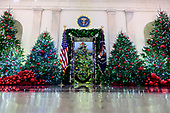 """The 2018 White House Christmas decorations, with the theme """"American Treasures"""" which were personally selected by first lady Melania Trump, are previewed for the press in Washington, DC on Monday, November 26, 2018.  This view is looking from the Grand Foyer towards the Blue Room.<br /> Credit: Ron Sachs / CNP"""