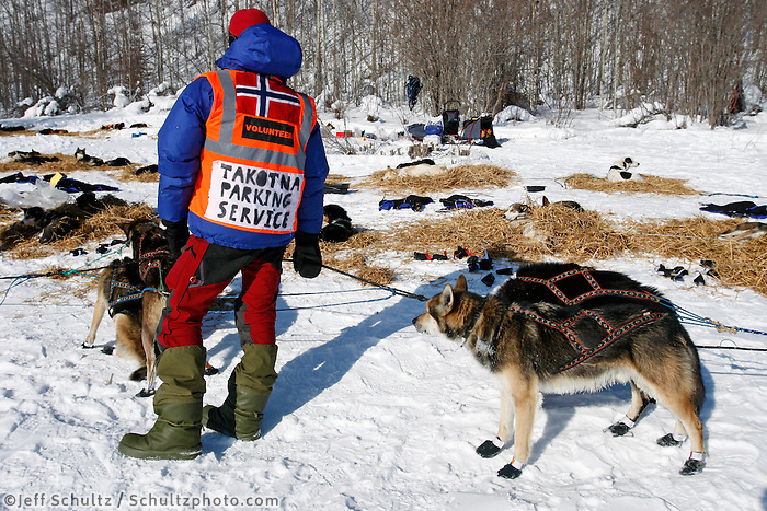 Wednesday  March 10 , 2010  A Norwegian exchange student holds Cindy Gallea's dogs as they park at Takonta .