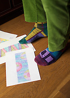 Designer Paolo Bagnara's feet in yet another pair of patterned socks