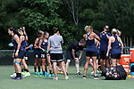 CARY, NC - JUNE 15: Courage players prepare for training. The North Carolina Courage held a training session on June 15, 2017, at WakeMed Soccer Park Field 7 in Cary, NC.