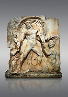 Roman Sebasteion rrelief  sculpture of Emperor Claudius as God of sea and land,  Aphrodisias Museum, Aphrodisias, Turkey. <br /> <br /> The Emperor as god Claudius strides forward in a divine epiphany, drapery billowing around his head. He receives a cornucopia with fruits of the earth from a figure emerging from the ground, anda ship's steering oar from a marine tritoness with fish legs. The idea is clear: the god-emperor guarantees the prosperity of land and sea. The relief is a remarkable local visualisation - elevated and panegyrical - of the emperor's role as a universal saviour and divine protector.