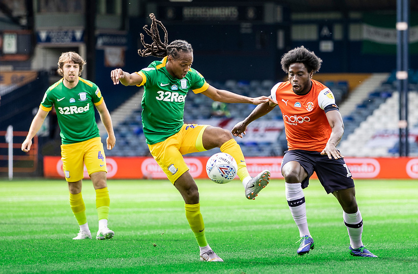 Preston North End's Daniel Johnson competing with Luton Town's Pelly Ruddock (right) <br /> <br /> Photographer Andrew Kearns/CameraSport<br /> <br /> The EFL Sky Bet Championship - Luton Town v Preston North End - Saturday 20th June 2020 - Kenilworth Road - Luton<br /> <br /> World Copyright © 2020 CameraSport. All rights reserved. 43 Linden Ave. Countesthorpe. Leicester. England. LE8 5PG - Tel: +44 (0) 116 277 4147 - admin@camerasport.com - www.camerasport.com