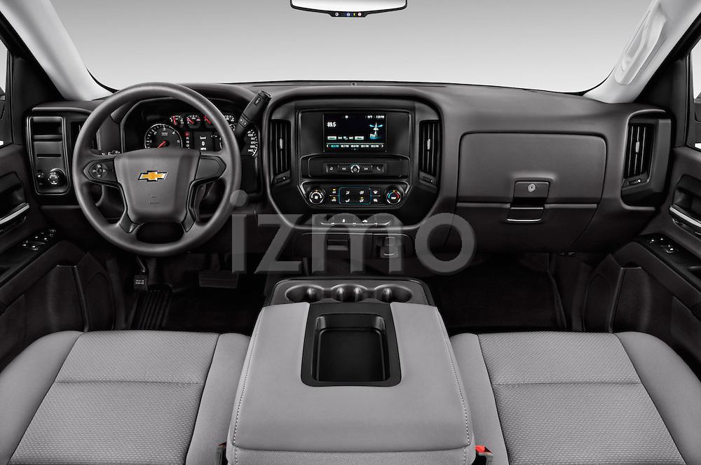 Stock photo of straight dashboard view of 2016 Chevrolet Silverado 1500 1WT Regular Cab Long Box 3 Door Pick-up Dashboard