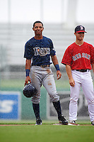 GCL Rays Oscar Rojas (6) and second baseman Sean Coyle (25) during a game against the GCL Red Sox on August 3, 2015 at the JetBlue Park at Fenway South in Fort Myers, Florida.  The game was suspended after two innings due to the inclement weather.  (Mike Janes/Four Seam Images)