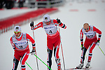 HOLMENKOLLEN, OSLO, NORWAY - March 16: (L-R) Martin Johnsrud Sundby of Norway (NOR), Petter jr. Northug of Norway (NOR) and Tord Asle Gjerdalen of Norway (NOR) during the Men 50 km mass start, free technique, at the FIS Cross Country World Cup on March 16, 2013 in Oslo, Norway. (Photo by Dirk Markgraf)