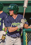 29 June 2014:  Vermont Lake Monsters outfielder Brett Vertigan on deck against the Lowell Spinners at Centennial Field in Burlington, Vermont. The Lake Monsters fell to the Spinners 7-5 in NY Penn League action. Mandatory Credit: Ed Wolfstein Photo *** RAW Image File Available ****